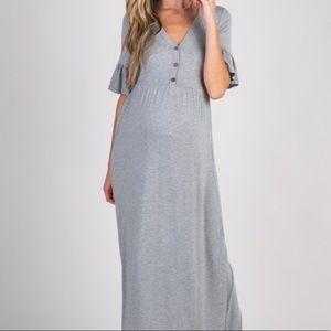 Grey Ruffle Sleeve Maternity Maxi Dress